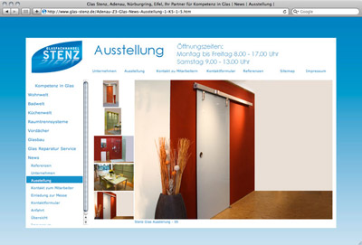 »Glasfachhandel Stenz – Redesign der Website